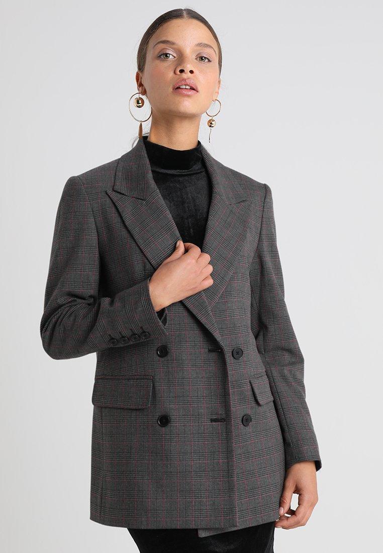 Selected Femme Petite - SLFMUSU CHECK - Kurzmantel - dark grey melange