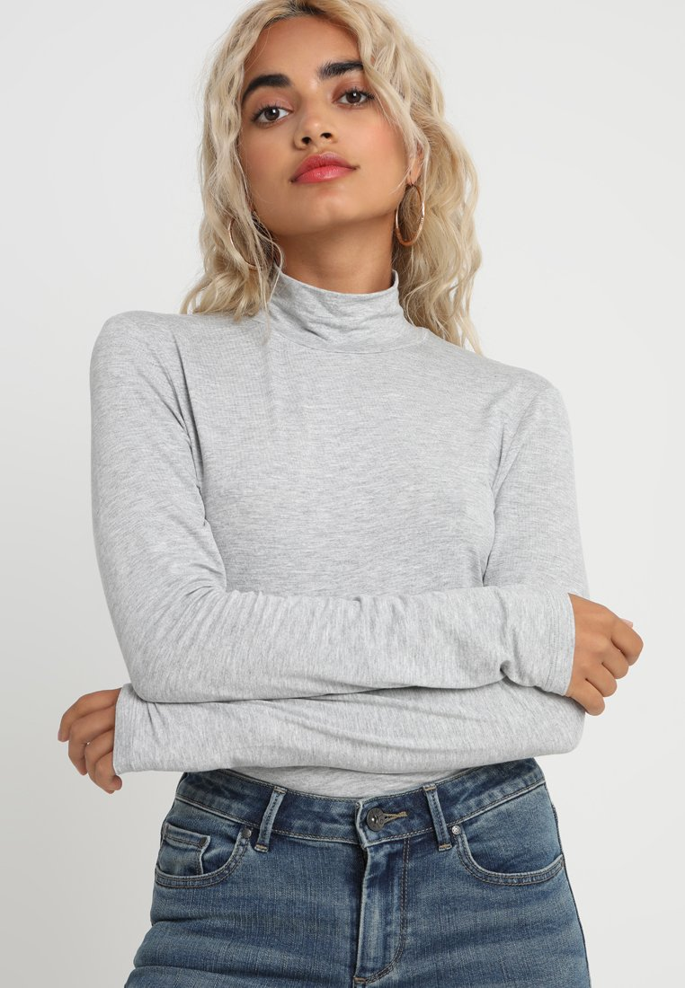 Selected Femme Petite - SFMIO HIGHNECK - Pitkähihainen paita - light grey melange