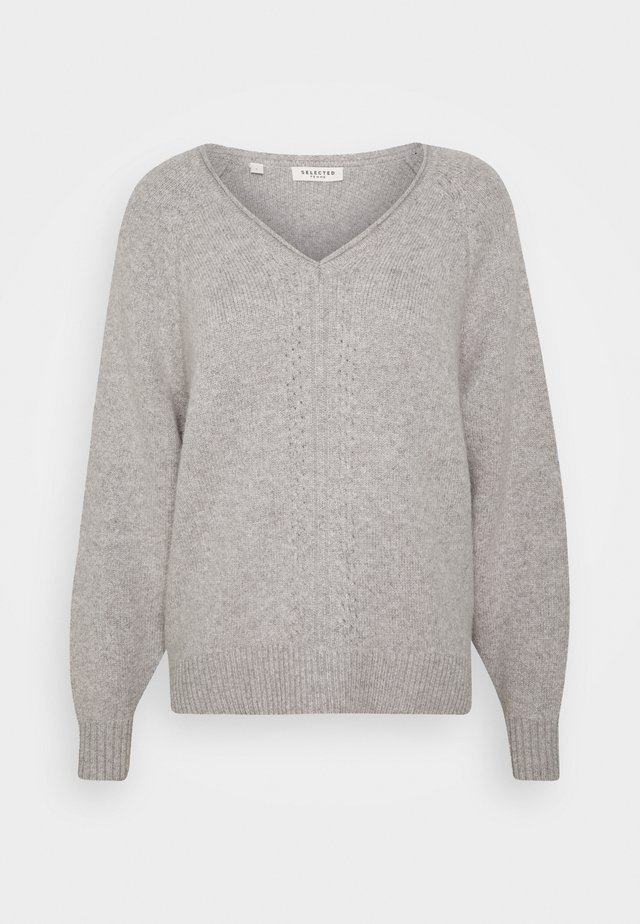 SLFMOLLY VNECK - Strikkegenser - light grey melange