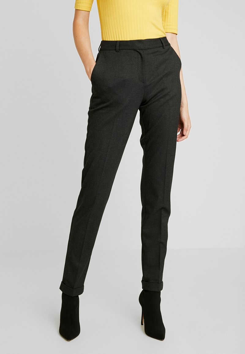 Selected Femme Tall - SLFLUNA ANKLE PANT - Trousers - dark grey melange