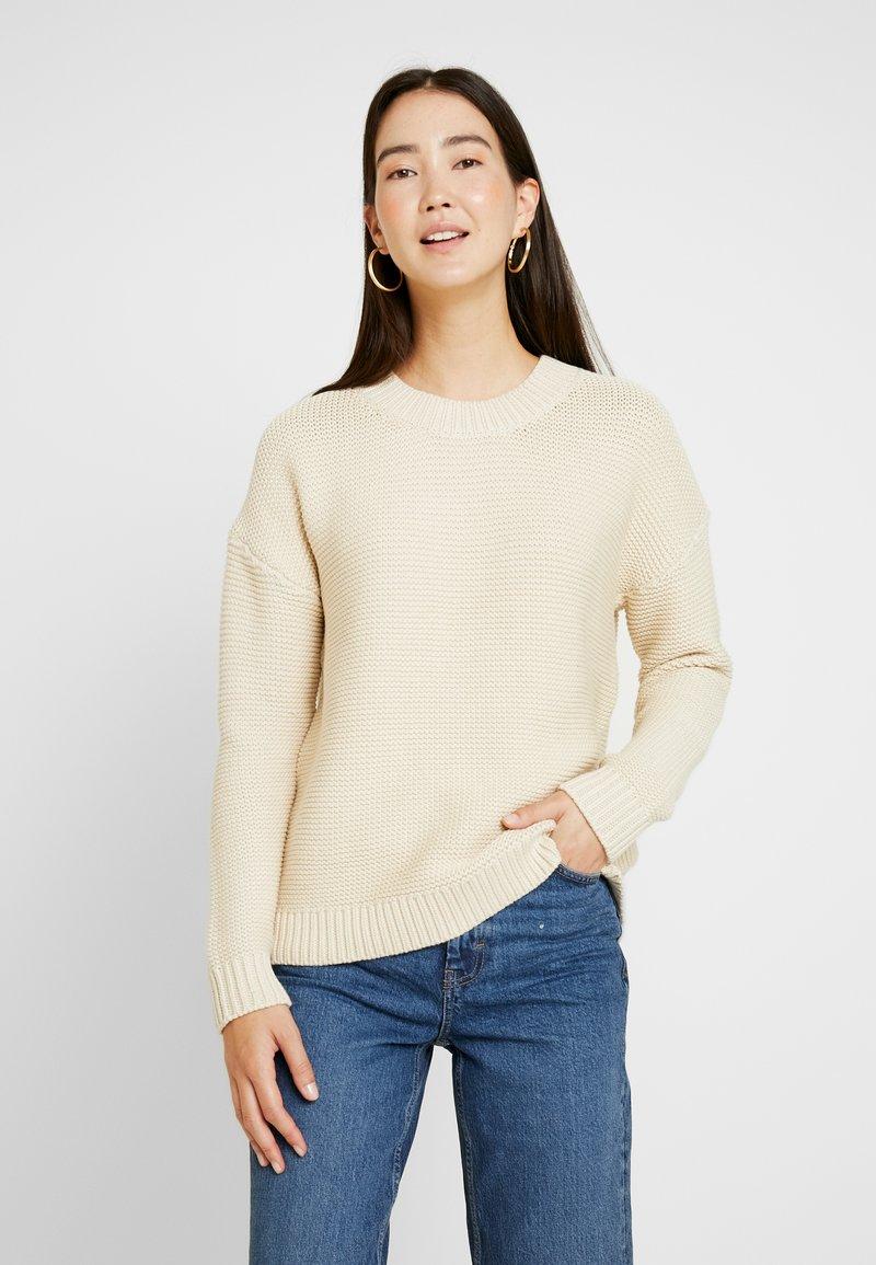 Selected Femme Tall - SLFWALLA O-NECK - Svetr - sandshell