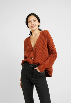 SLFCAROLINE CROP CARDIGAN - Strickjacke - ginger bread