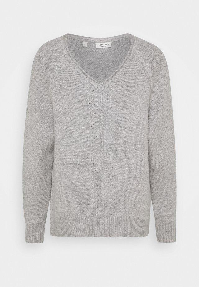 SLFMOLLY V-NECK TALL - Jersey de punto - light grey melange