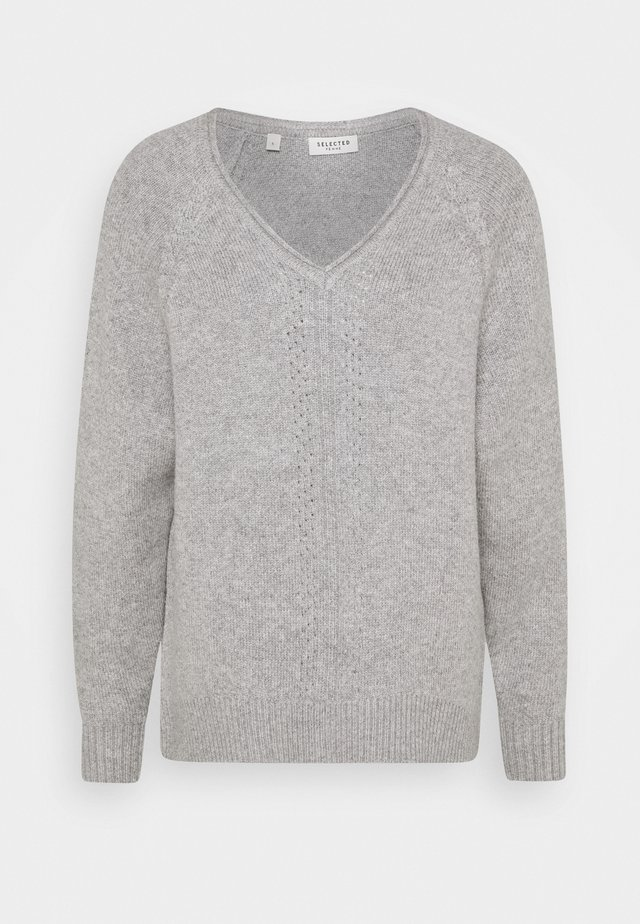 SLFMOLLY V-NECK TALL - Strickpullover - light grey melange