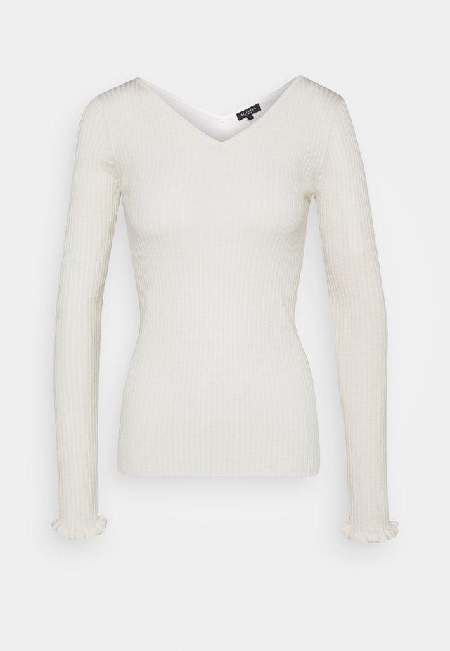 SLFCOSTA FRILL WIDE NECK - Jersey de punto - snow white