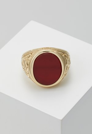 GOLD PLATED SILVER RED AGATE RING - Ring - gold
