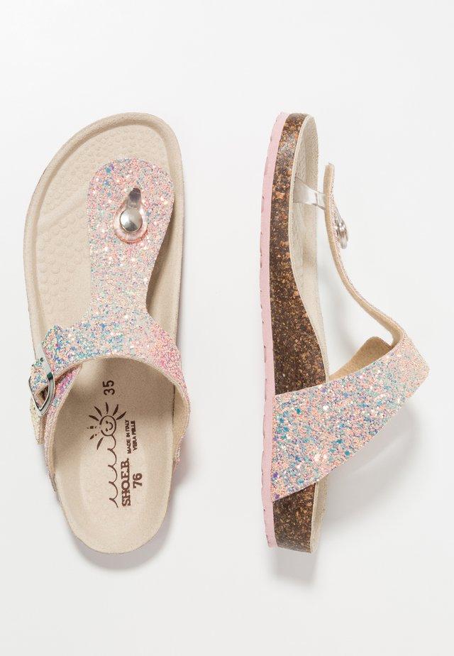 T-bar sandals - glitter rose