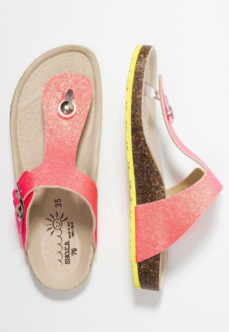 shoeb76 - T-bar sandals - glitter fluo rose