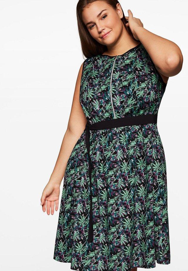 Korte jurk - schwarz gemustert
