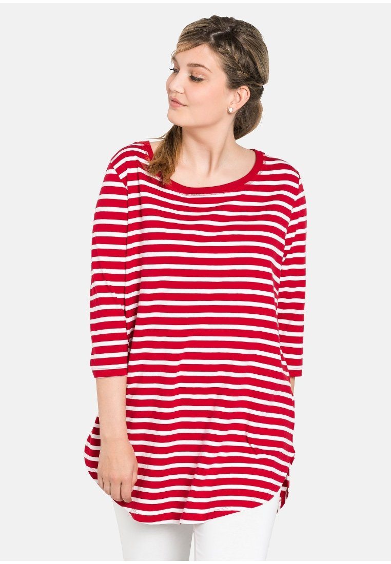 Sheego - Long sleeved top - Red/White
