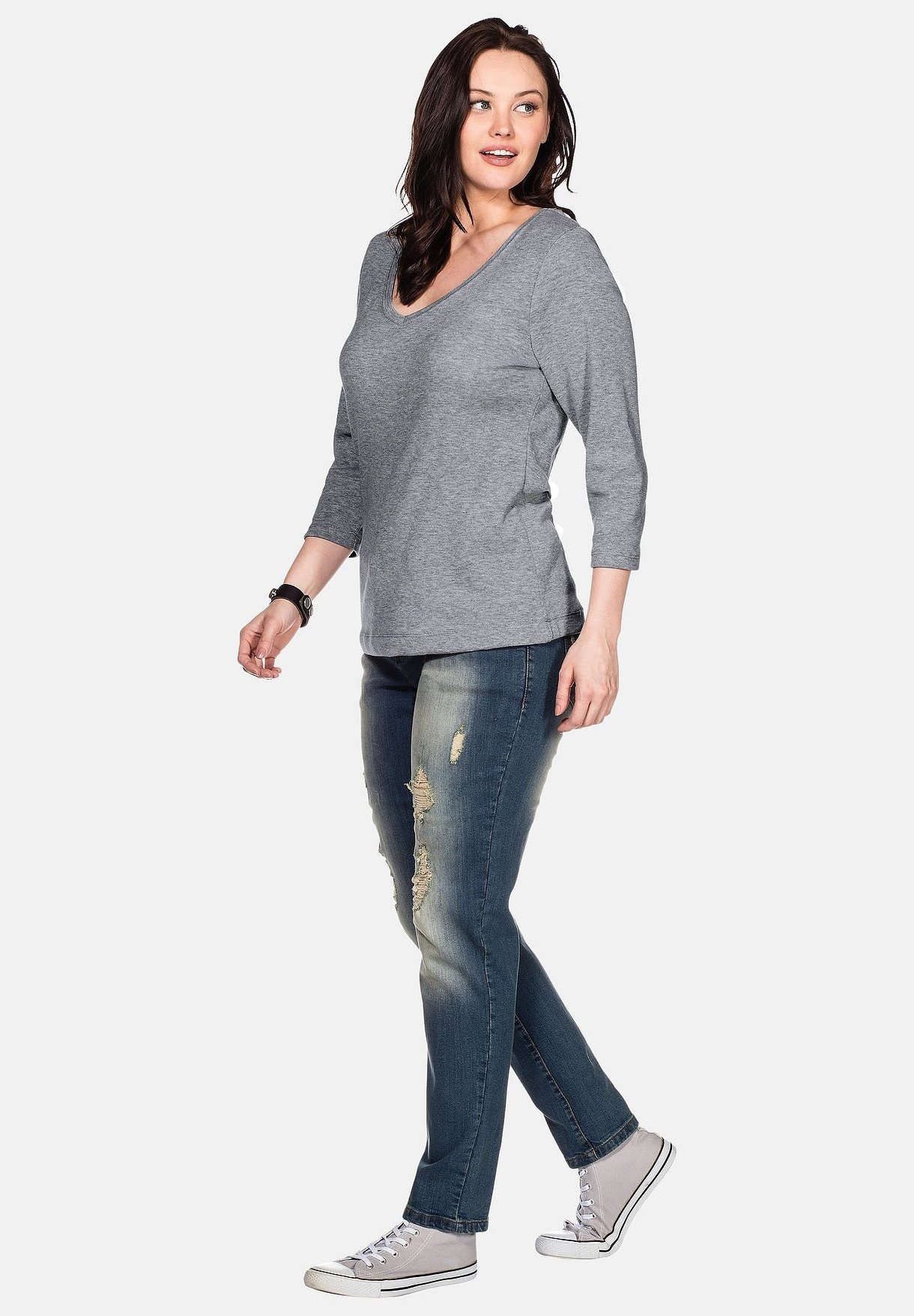 Sheego Long Sleeved Top - Grey