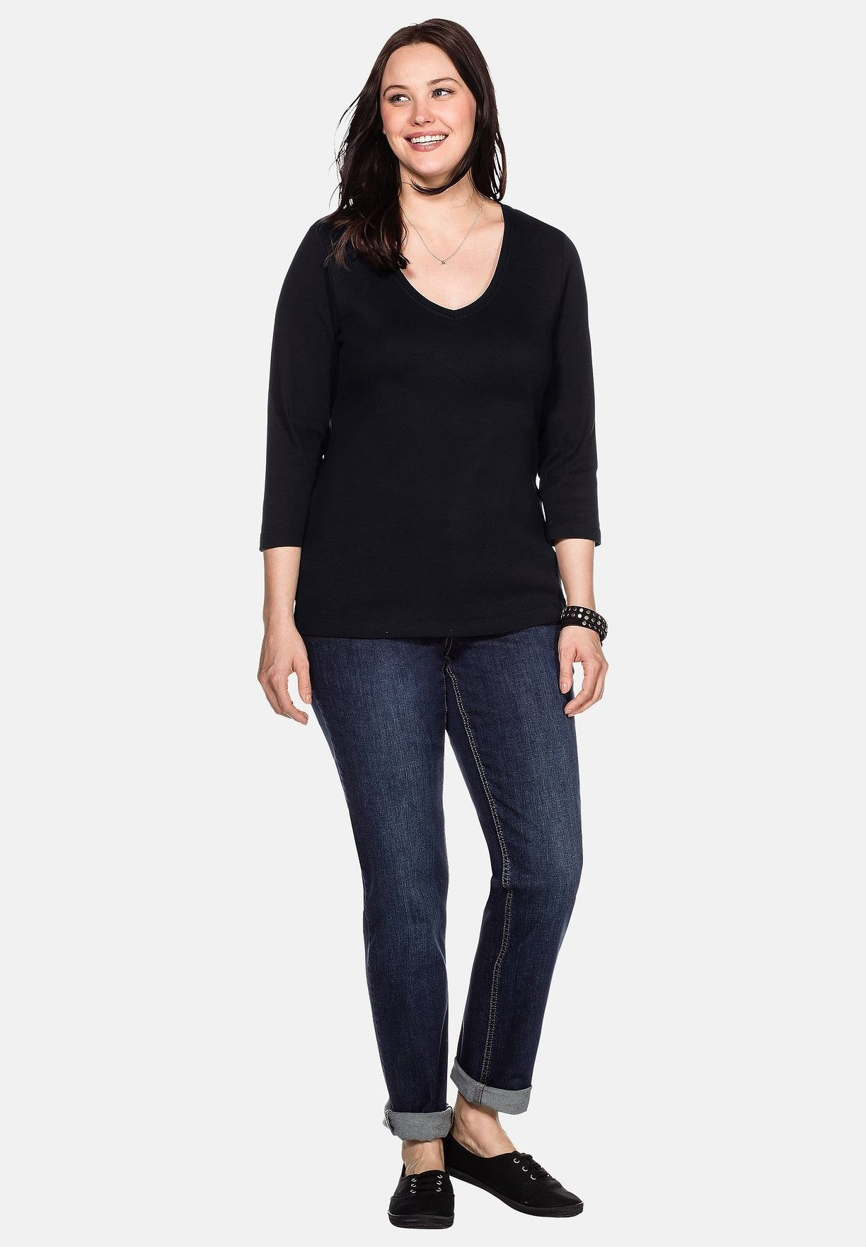 Sheego Long Sleeved Top - Black
