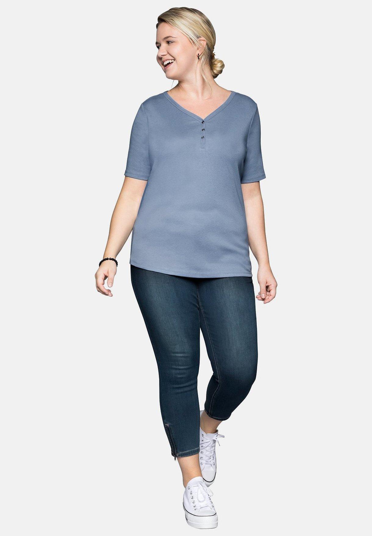 Sheego Basic T-shirt - Smoky Blue Mottled