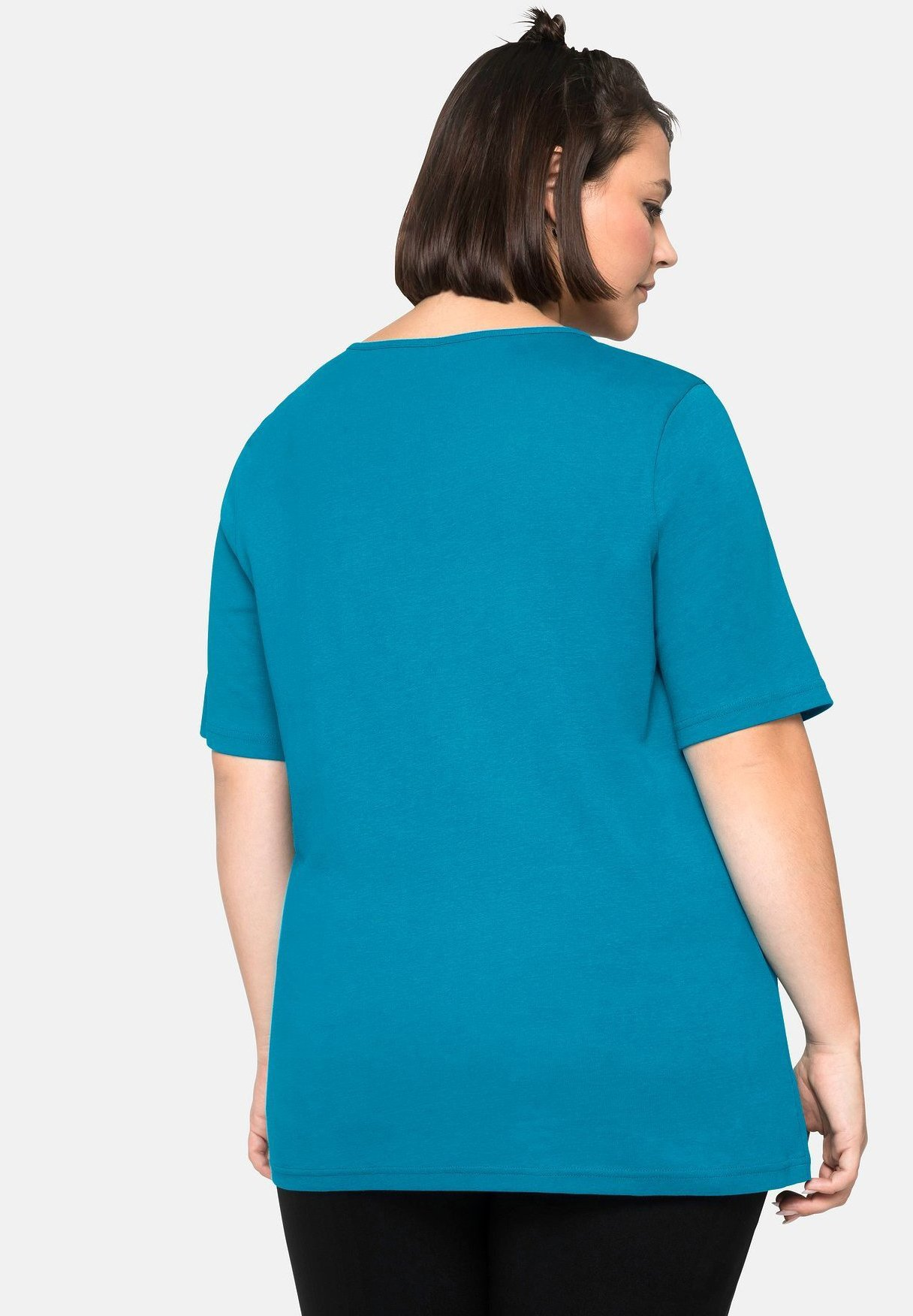 Sheego Print T-shirt - Turquoise