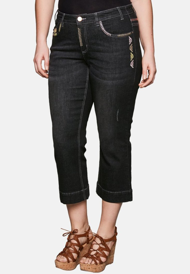 Sheego - Jeans Bootcut - black denim