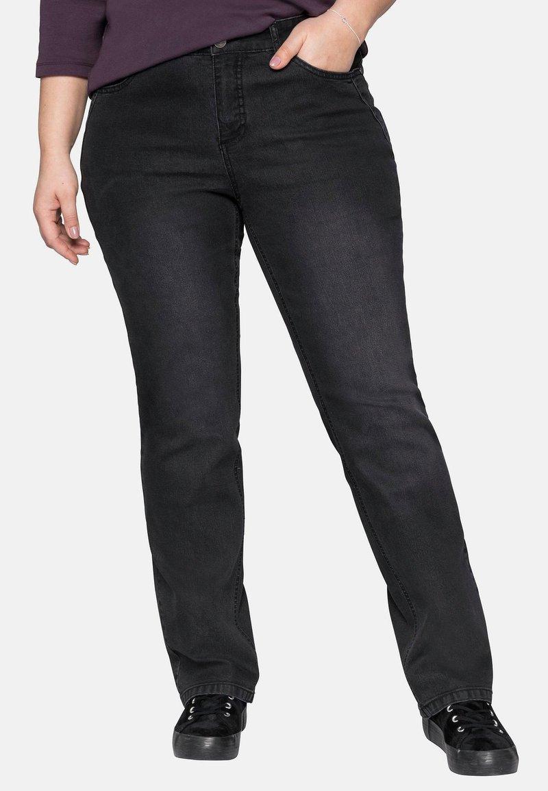 Sheego - Flared Jeans - black denim