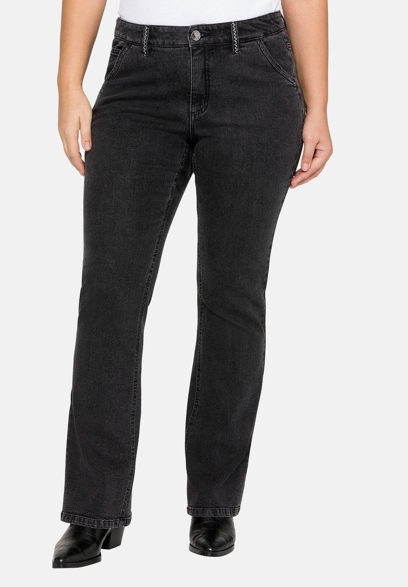 Sheego - Jeans bootcut - black denim