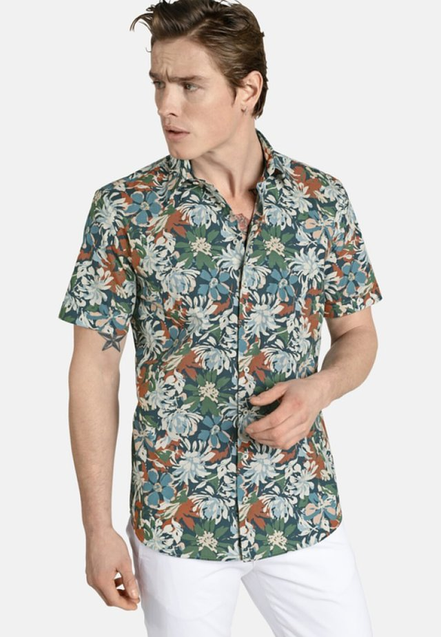 KURZARMHEMD FLORALPOWER - Shirt - brown/green