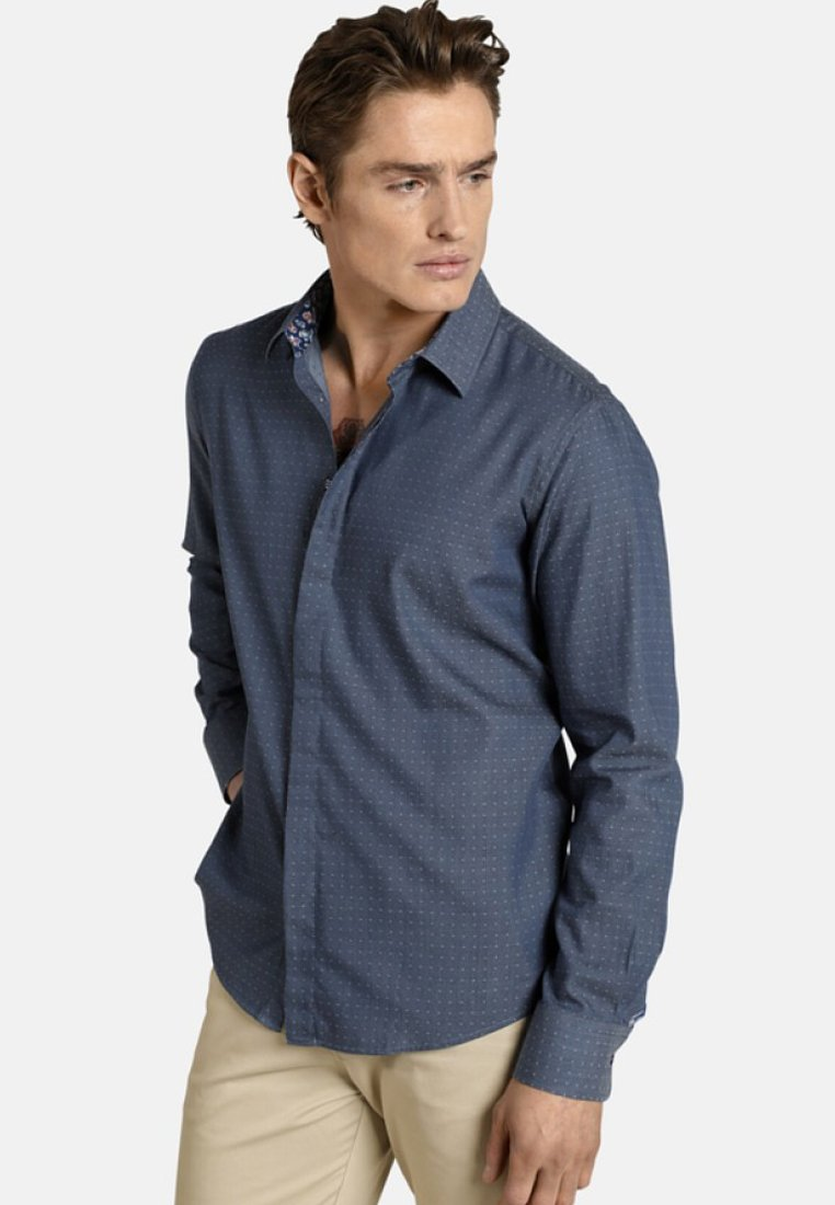 SHIRTMASTER - JACQUARDHEMD HIDDENDOTS - Shirt - blue