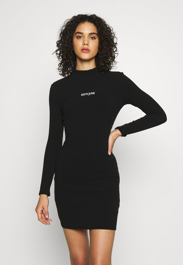 DRESS LONG SLEEVE - Abito in maglia - black