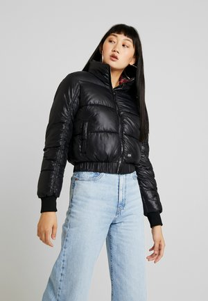PUFFER WITH TARTANS LINING AND TURTLE NECK  - Winterjas - black