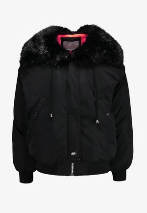 WITH DOUBLE POCKET AND FUR ON THE HOOD - Zimní bunda - black/orange