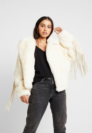 JACKET FRINGE ON THE BACK AND SLEEVES - Talvitakki - white