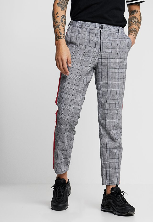 TROUSERS WITH RED BAND - Stoffhose - grey