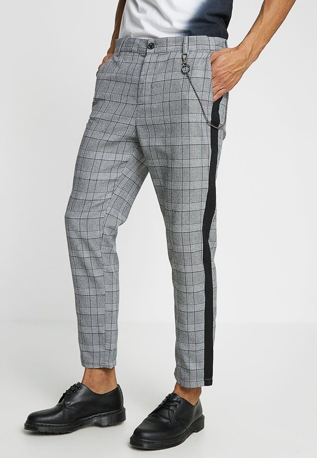 CHECKED PANTS WITH DARK CHAIN - Stoffhose - grey