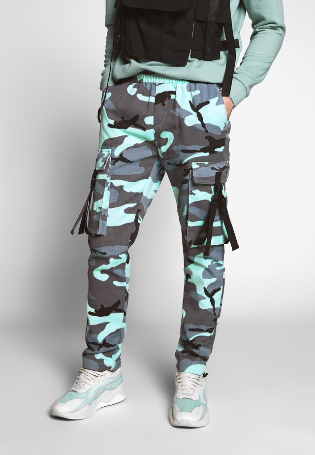 CAMO PANTS - Cargo trousers - blue grey washed