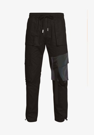 TACTICAL PANTS WITH IRIDESCENT POCKET - Cargobyxor - black