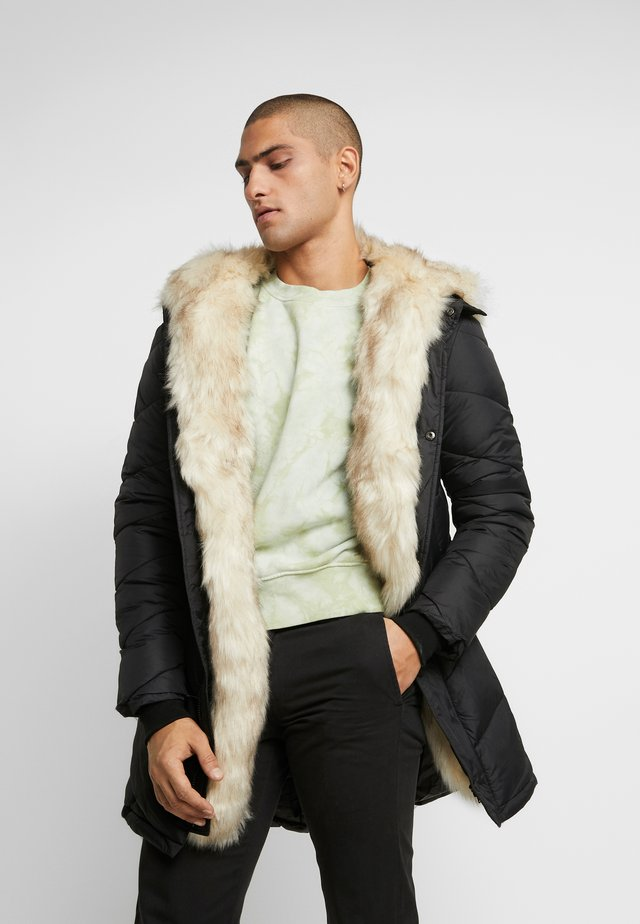 WITH FUR ALL AROUND - Parka - black