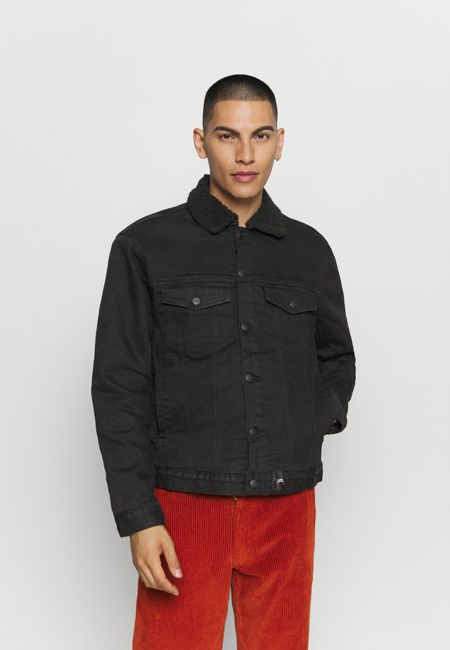 DENIM JACKET WITH SHERPA LINING - Giacca di jeans - black
