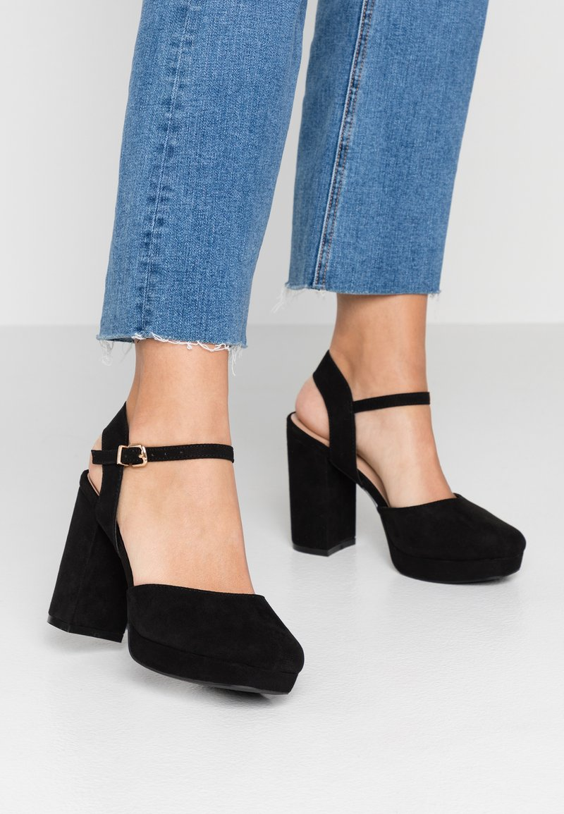 Simply Be - WIDE FIT JORDYN CLOSED TOE PLATFORM - Højhælede sandaletter / Højhælede sandaler - black