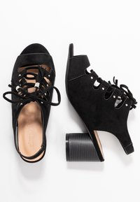 Simply Be - WIDE FIT EVELYN BLOCK HEEL LACE UP SHOE - Riemensandalette - black - 3