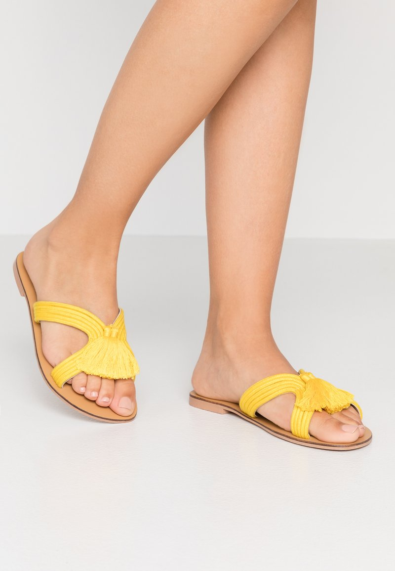 Simply Be - WIDE FIT AMARA TASSEL SLIDER - Mules - yellow