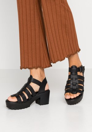 WIDE FIT WILLOW CHUNKY CAGE - Sandalias con plataforma - black