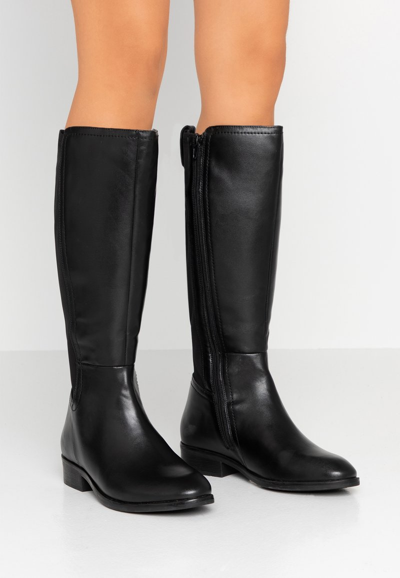 Simply Be - WIDE FIT SUPER CURVY CALF STRETCH BACK KNEE HIGH BOOT - Boots - black
