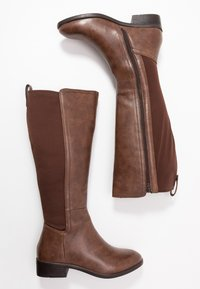 Simply Be - WIDE FIT DIXIE STRETCH BACK KNEE HIGH BOOT - Boots - brown - 3