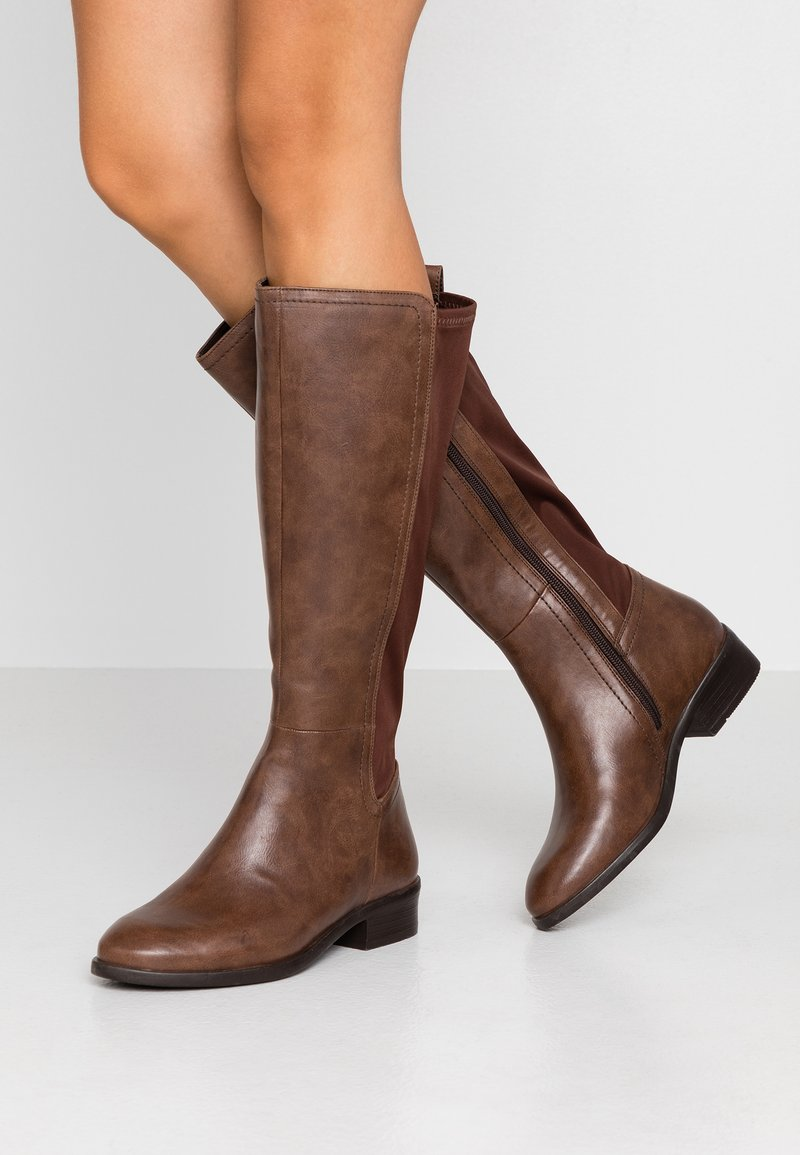 Simply Be - WIDE FIT DIXIE STRETCH BACK KNEE HIGH BOOT - Boots - brown