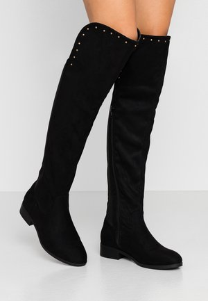 WIDE FIT FELICIA STUDDED ELASTIC BACK STEP BOOTS - Over-the-knee boots - black