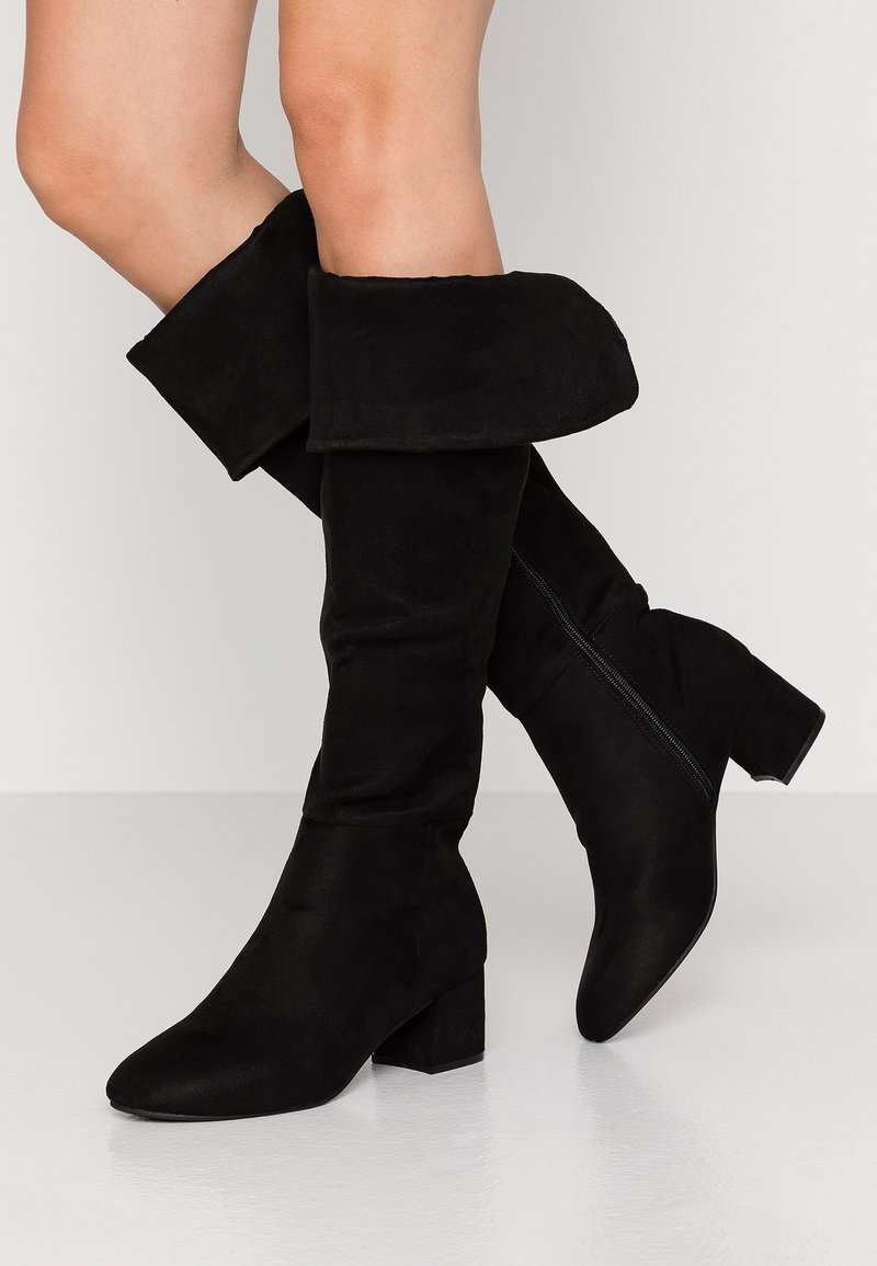 Simply Be - WIDE FIT FELICITY FOLD DOWN KNEE HIGH BOOT - Overknees - black