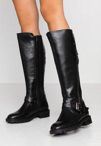 Simply Be - WIDE FIT GWEN KNEE HIGH - Cowboy/Biker boots - black - 0