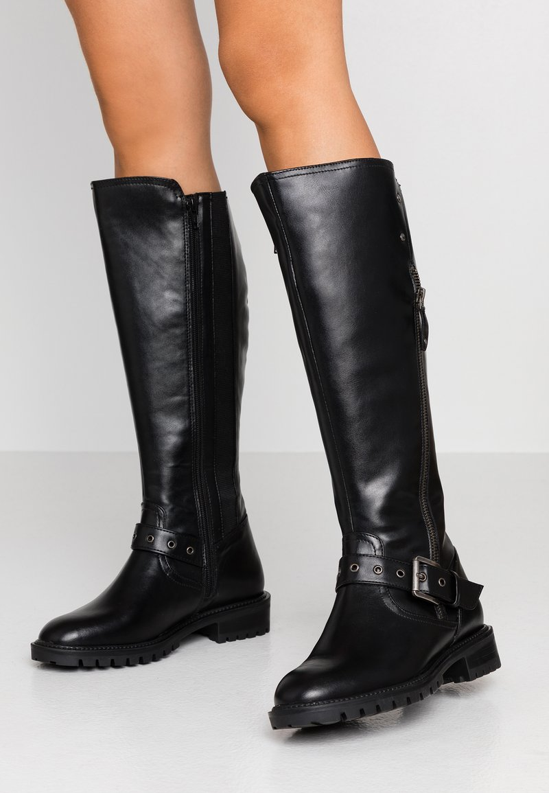Simply Be - WIDE FIT GWEN KNEE HIGH - Cowboy/Biker boots - black