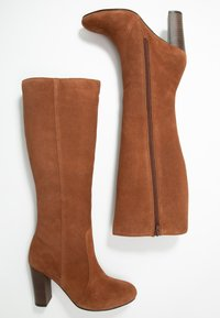 Simply Be - WIDE FIT LANI BLOCK KNEE HIGH BOOTS - High heeled boots - tan - 3