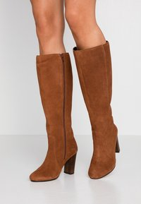 Simply Be - WIDE FIT LANI BLOCK KNEE HIGH BOOTS - High heeled boots - tan - 0