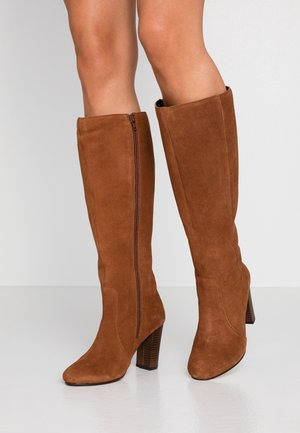 WIDE FIT LANI BLOCK KNEE HIGH BOOTS - High heeled boots - tan