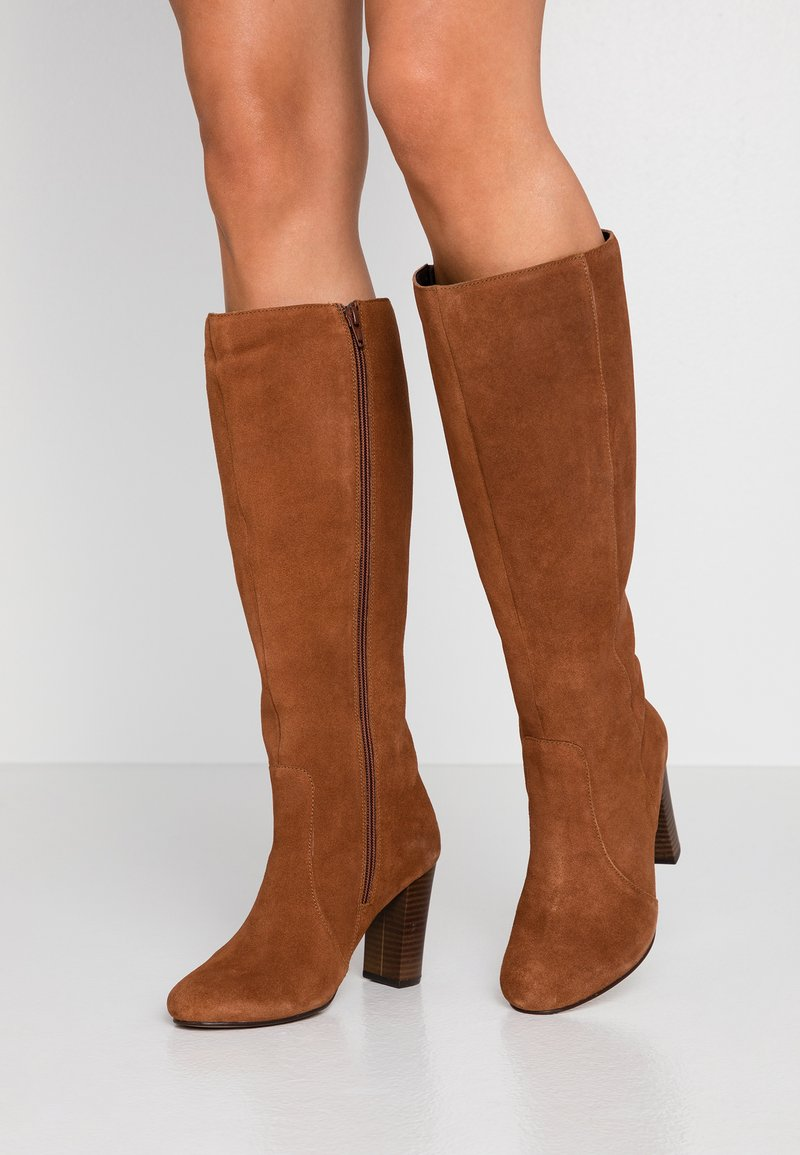 Simply Be - WIDE FIT LANI BLOCK KNEE HIGH BOOTS - High heeled boots - tan
