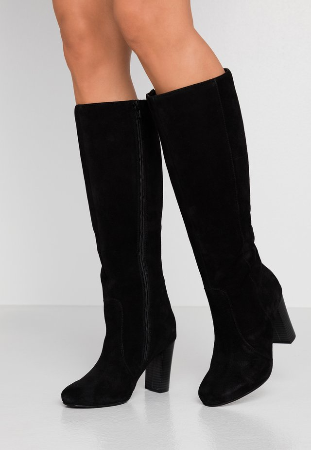 WIDE FIT LANI BLOCK KNEE HIGH BOOTS - Laarzen met hoge hak - black