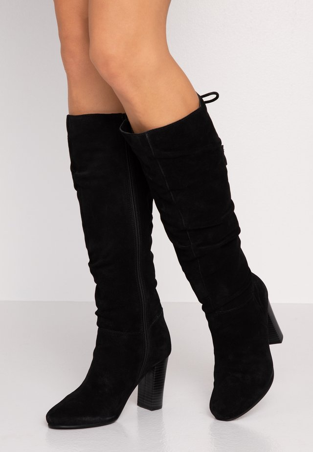 WIDE FIT EDEN SLOUCH HEELED KNEE BOOTS - Korolliset saappaat - black